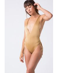 Indah Playground Cinched Tie Side One Piece Swimsuit - Metallic