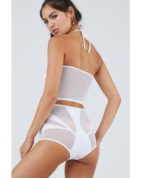 Lee + Lani The Amalfi Mesh High Waisted Bikini Bottom - White