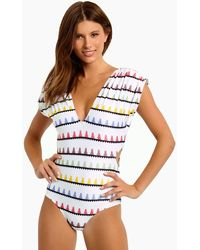 Carolina K Liset Capped Sleeves Side Cut Outs One Piece Swimsuit - White