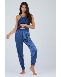 Fleur du Mal 100% Silk Jogger Track Trousers - Blue