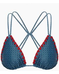 Mia Marcelle - Grace Stitched Criss Cross Back Bikini Top - Teal Tile - Lyst