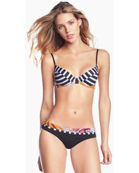 Maaji Bahia Bahia Lace Up Back Bikini Top - Floral Stripe Print - Black