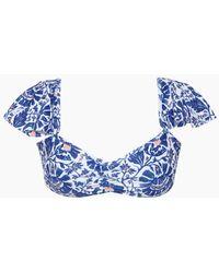 Saha Samba Ruffle Off Shoulder Bandeau Bikini Top - Blue