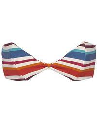 Montce Swim Bellini Strapless Bandeau Bikini Top - Retro Stripe Print - Multicolour