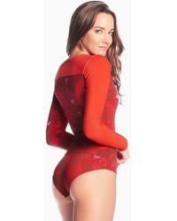 Maaji - Kite Caipirinha Reversible Rashguard Bodysuit - Cayenne/cayenne Print - Lyst