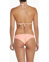 Pilyq Basic Ruched Teeny Bikini Bottom - Bellini Coral - Multicolor