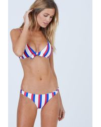 Aila Blue - Cathedral Front Tie Bikini Top - Americana Stripe - Lyst