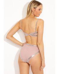 Norma Kamali Stud High Waist Bikini Bottom - Rose Pink