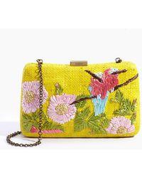 Serpui Marissa Birds Embroidered Raffia Clutch - Yellow