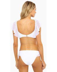 Ella Moss - Sheer Dot Ruffle Retro Bikini Bottom - White - Lyst