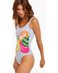 Onia Kelly Scoop Back One Piece Swimsuit - Mixed Fruit/navy Gingham - Blue