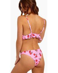 Motel Quella High Cut Cheeky Bikini Bottom - Pink