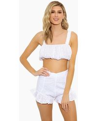 Lolli Ruth Puffy Eyelet Bandeau Crop Top - White