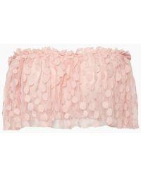 Waimari Linda Spot Net Ruffle Tube Top - Pink