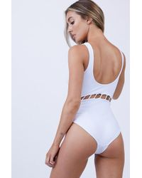 Peixoto Jade Full Cut Out One Piece Swimsuit - White