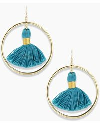 Lacey Ryan Tassel Hoop Earrings - Blue