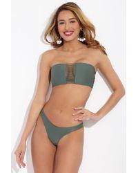 Mikoh Swimwear Sunset Stringy Bandeau Bikini Top - Army Green