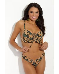 Montce Swim - Prima Lace Up Corset Ruffle Bikini Top - Saffron Floral Print - Lyst