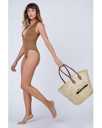 Poolside Notorious La Plage Embroidered Straw Tote - Multicolour