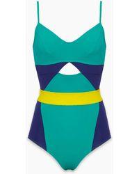 Flagpole Swim Joellen Colour Block Cut Out One Piece Swimsuit - Key Lime Green/sea Green/navy Blue