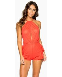 Luli Fama Habanera High Neck Ruffle Romper - Girl On Fire Red