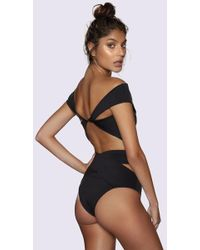 Kopper & Zink Duke Crisscross High Waisted Bikini Bottom - Black