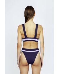 Seafolly Amulet Colour Block High Cut Bikini Bottom - Purple