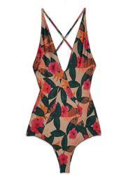 Stone Fox Palma Plunging Open Back One Piece Swimsuit - La Buena Tropical Print - Multicolor