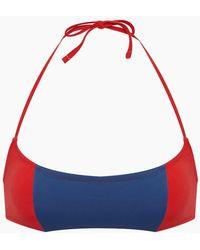 Solid & Striped The Jessica Colour Block Halter Bikini Top - Red