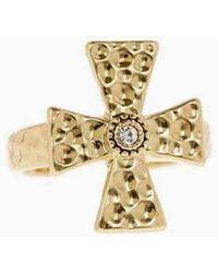 Luv Aj The Hammered Cross Signet Ring - Metallic