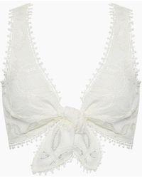Waimari Cindy Lace Front Tie Crop Top - White