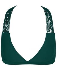 Mikoh Swimwear Tuamotu Macrame T-back Bikini Top - Green