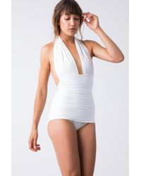 Norma Kamali Halter Bill One Piece Swimsuit - White