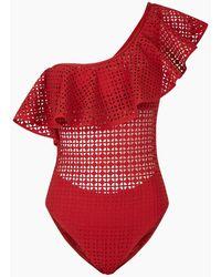 Evarae Irene One Shoulder Laser-cut One Piece Swimsuit - Red