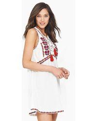 Tigerlily Sedona Embroidered High Neck Mini Dress - White