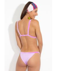 dbrie The Gia Velvet Thin Strap Cheeky Bikini Bottom - Purple