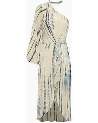 Hemant & Nandita One Shoulder Georgette Long Dress - Blue