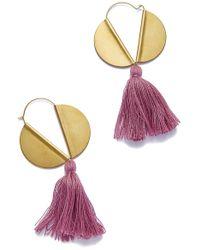 Sandy Hyun - Winged Hoop Earrings - Plum Tassel - Lyst