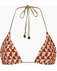 Tigerlily Nathalie Tara Reversible Triangle Bikini Top - Brown