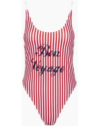 Private Party Bon Voyage Tank High Cut One Piece Swimsuit - Red & White Stripe Print