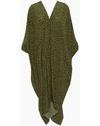 Adriana Degreas Silk Crepe De Chine Long Kaftan - Green