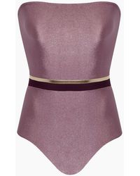 Adriana Degreas Strapless One Piece Swimsuit - Purple
