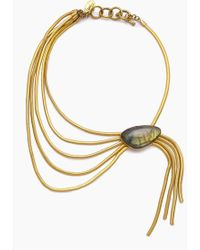 Lena Bernard Nerissa Labradorite Pendant Gold Fringe Collar Necklace - Metallic
