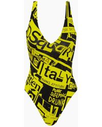 DSquared² Plunging One Piece Swimsuit - Yellow