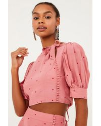 For Love & Lemons Rosie High Neck Button Up Crop Top - Rose Pink Polka Dot Print
