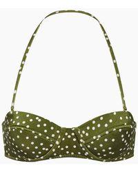 Adriana Degreas - Underwire Bustier Bikini Top - Mille Punti Army Green Polka Dot Print - Lyst