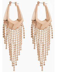 Luv Aj The Faceted Fringe Statement Hoop Dangle Earrings - Metallic