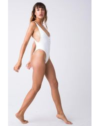 Frankie's Bikinis Adele Ribbed Scoop High Cut One Piece Swimsuit - White