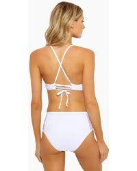 Ella Moss Sheer Dot Panels High Waist Bikini Bottom - White