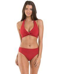 Jets by Jessika Allen D/dd Twist Halter Bikini Top - Chili - Red